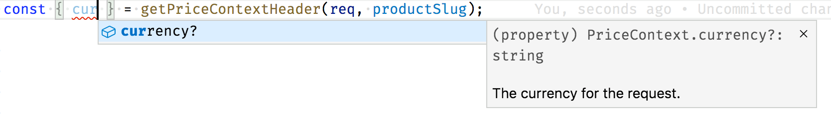 VS Code code completion with TypeScript